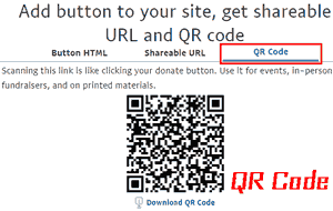 Add button to your site, get shareable QR code