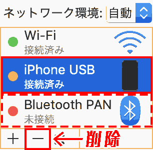Delete Network, iPhone USB and (Bluetooth PAN).
