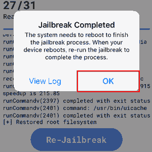 Jailbreak Completed for the second time, OK.
