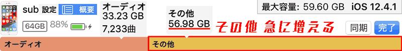 """iTunes設定→ 概要.その他 空き容量不足: 30.61GB.オーディオ 33.23GB. 同期すると""""その他""""が急に増えます。空き容量不足になります。iPhone内部ストレージの半分以上も占めます。"""