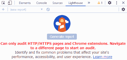 Can only audit HTTP/HTTPS pages and Chrome extensions. Navigateto a different page to start an audit. Identify and fix common problems that affect your site's performance accessibility, and user experience. Learn more