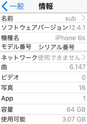iPhone 6s iOS 12.4.1 動作環境