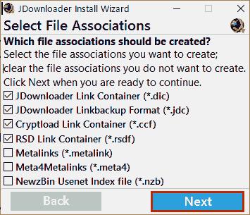 Select File Associations. そのままでNextします。