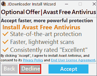 Optional Offer Avast Free Antivirus. 不要なのでDeclineします。