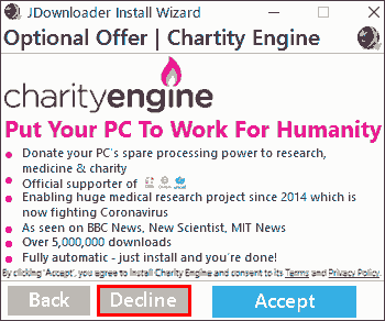 Optional Offer Charity Engine. これも不要なのでDeclineします。