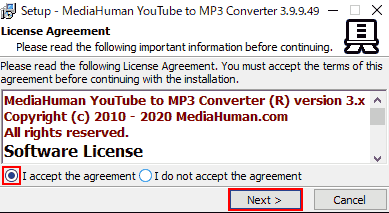 Setup. License Agreement. I accept the agreementにチェック● してNext>します。