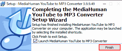 Completing the Media Human YouTube to MP3 Converter Setup Wizard. → Finish